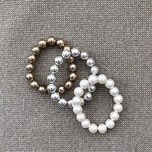 Jewelry - Gold, Faux Pearl & Silver Ball Bracelets